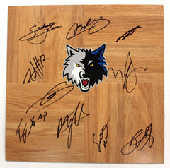Minnesota Timberwolves 2014-15 Team Signed Autographed Basketball Floorboard Lavine