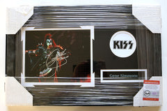 "Gene Simmons Signed Autographed 22"" x 14"" Framed Kiss Photo Pinpoint COA"