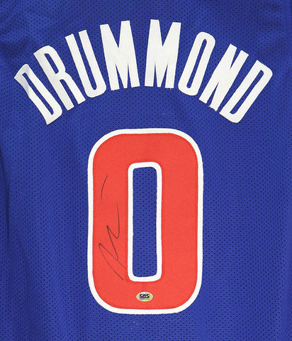 Andre Drummond Detroit Pistons Signed Autographed Blue #0 Custom Jersey CAS Witnessed COA
