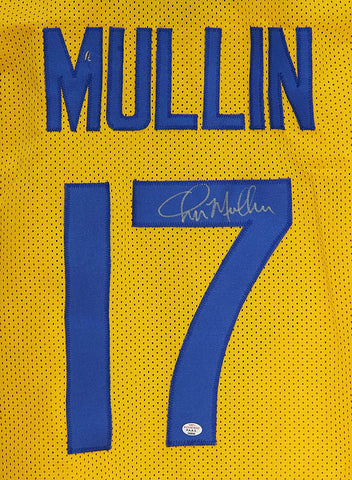 Chris Mullin Golden State Warriors Signed Autographed Retro Throwback Yellow #17 Custom Jersey PAAS COA