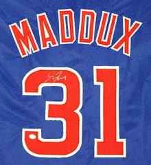 Greg Maddux Chicago Cubs Signed Autographed Blue #31 Custom Jersey PAAS COA