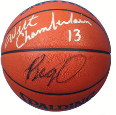 Wilt Chamberlain Los Angeles Lakers and Oscar Robertson Milwaukee Bucks Dual Signed Autographed Spalding NBA Game Basketball JSA LOA COA