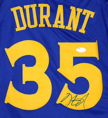 Kevin Durant Golden State Warriors Signed Autographed Blue #35 Jersey Size 44 JSA COA