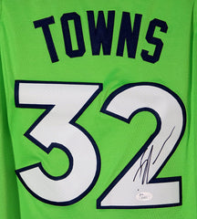 Karl-Anthony Towns Minnesota Timberwolves Signed Autographed Green #32 Jersey JSA COA