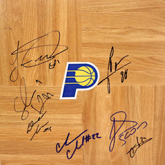 Indiana Pacers 2013-14 Team Signed Autographed Basketball Floorboard