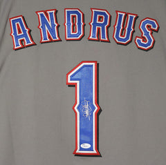 Elvis Andrus Texas Rangers Signed Autographed Gray #1 Jersey JSA COA