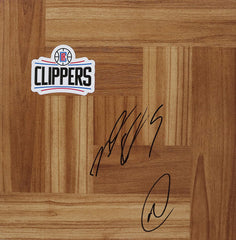 Montrezl Harrell and Marcus Morris Los Angeles Clippers Signed Autographed Basketball Floorboard