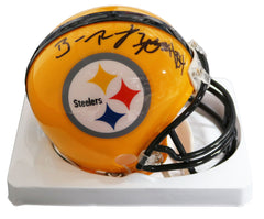 Ben Roethlisberger and Antonio Brown Pittsburgh Steelers Signed Autographed Football Mini Yellow Throwback Helmet PAAS COA