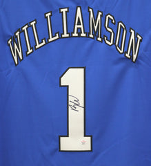 Zion Williamson Duke Blue Devils Signed Autographed Blue #1 Jersey PAAS COA
