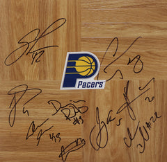 Indiana Pacers 2014-15 Team Autographed Signed Basketball Floorboard