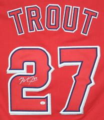 Mike Trout Los Angeles Angels Signed Autographed Red #27 Jersey PAAS COA