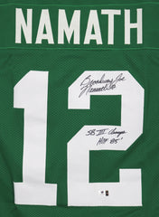 Joe Namath New York Jets Signed Autographed Inscribed Green #12 Custom Jersey Global COA