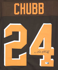 Nick Chubb Cleveland Browns Signed Autographed Brown #24 Custom Jersey Global COA