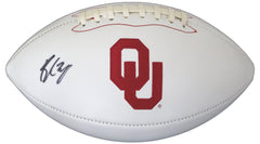 Baker Mayfield Oklahoma Sooners Signed Autographed White Panel Logo Football JSA COA