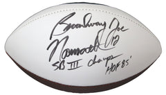 Joe Namath New York Jets Signed Autographed White Panel Logo Football Global COA