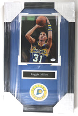 "Reggie Miller Indiana Pacers Signed Autographed 22"" x 14"" Framed Photo"