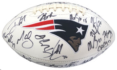 New England Patriots 2016 Team Super Bowl Champions Signed Autographed White Panel Logo Football PAAS COA Belichick Brady Gronkowski