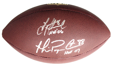 "Troy Aikman and Michael Irvin Dallas Cowboys Signed Autographed Wilson ""THE DUKE"" NFL Football Global COA"