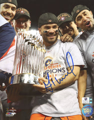 "Jose Altuve Houston Astros Signed Autographed 8"" x 10"" World Series Trophy Photo Global COA"