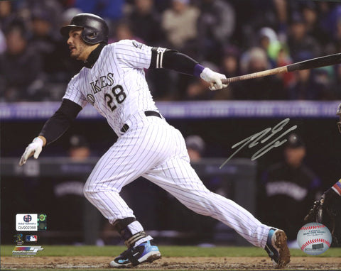 "Nolan Arenado Colorado Rockies Signed Autographed 8"" x 10"" Hitting Photo Global COA"