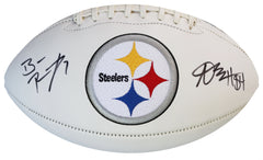 Ben Roethlisberger and Antonio Brown Pittsburgh Steelers Signed Autographed White Panel Logo Football AI COA