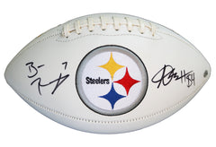 Ben Roethlisberger and Antonio Brown Pittsburgh Steelers Signed Autographed White Panel Logo Football PAAS COA