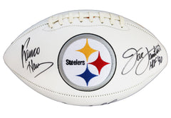 Terry Bradshaw, Franco Harris and Jack Lambert Pittsburgh Steelers Signed Autographed White Panel Logo Football AI COA