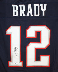 Tom Brady New England Patriots Signed Autographed Blue #12 Custom Jersey Global COA