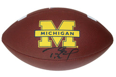 Tom Brady Michigan Wolverines Signed Autographed Wilson NCAA Logo Football Global COA