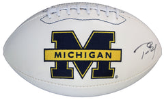 Tom Brady Michigan Wolverines Signed Autographed White Panel Logo Football Global COA