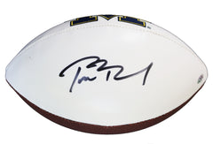 Tom Brady Michigan Wolverines Signed Autographed White Panel Logo Football PAAS COA