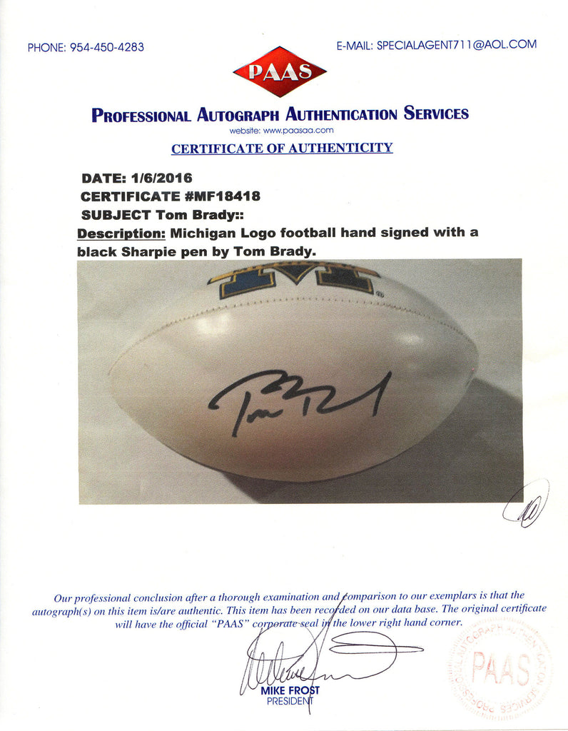 Tom brady michigan wolverines autographed white panel football tom brady michigan wolverines signed autographed white panel logo football paas coa xflitez Image collections