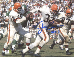 Jim Brown Cleveland Browns Signed Autographed 8 x 10 White Jersey Photo Witnessed Global COA