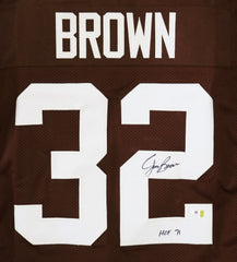Jim Brown Cleveland Browns Signed Autographed Brown #32 Jersey Witnessed Global COA