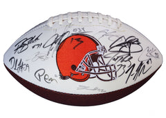 Cleveland Browns 2015 Team Signed Autographed White Panel Logo Football AI COA Thomas Haden Manziel