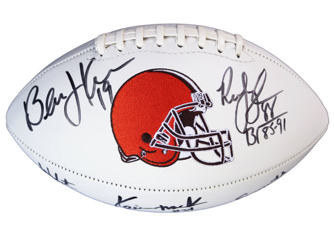 Cleveland Browns 1980's AFC Championship Teams Signed Autographed White Panel Logo Football Witnessed Global COA Kosar Byner Mack