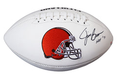 Jim Brown Cleveland Browns Signed Autographed White Panel Logo Football PAAS COA