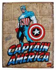 "Stan Lee Signed Autographed 12.5"" x 16"" Captain America Retro Metal Tin Sign PAAS COA"