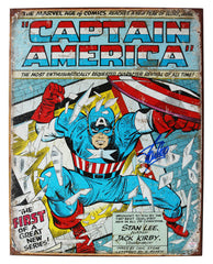 "Stan Lee Signed Autographed 12.5"" x 16"" Marvel Comics Captain America Retro Metal Tin Sign PAAS COA"