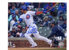 "Wilson Contreras Chicago Cubs Signed Autographed 8"" x 10"" Hitting Photo Global COA"