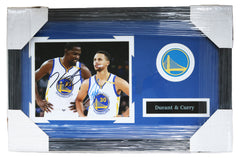 "Stephen Curry and Kevin Durant Golden State Warriors Signed Autographed 22"" x 14"" Framed Photo Pinpoint COA"