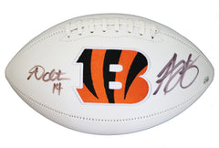 Andy Dalton and A.J. Green Cincinnati Bengals Dual Signed Autographed White Panel Logo Football PAAS COA