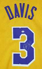 Anthony Davis Los Angeles Lakers Signed Autographed Yellow #3 Custom Jersey PAAS COA