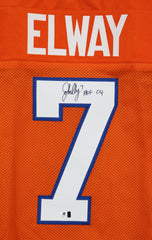 John Elway Denver Broncos Signed Autographed Orange #7 Jersey Global COA