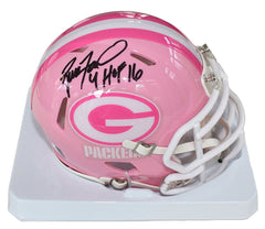 Brett Favre Green Bay Packers Signed Autographed Inscribed Football Pink Mini Helmet Global COA