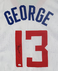 Paul George Los Angeles Clippers Signed Autographed White #13 Custom Jersey PAAS COA