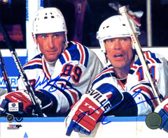 "Wayne Gretzky and Mark Messier Edmonton Oilers Dual Signed Autographed 8"" x 10"" Photo Global COA"
