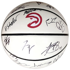 Atlanta Hawks 2014-15 Team Signed Autographed White Panel Basketball AI COA Teague Horford Millsap