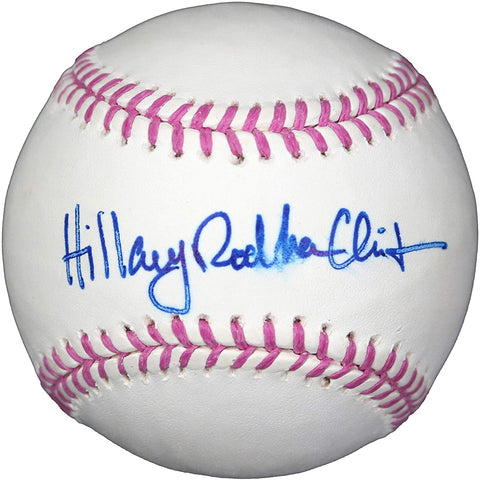Hillary Rodham Clinton Presidential Candidate Signed Autographed Pink Mothers Day Breast Cancer Rawlings Official Major League Baseball LSC COA with Display Holder