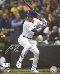 "Christian Yelich Milwaukee Brewers Signed Autographed 8"" x 10"" Batting Photo Global COA"